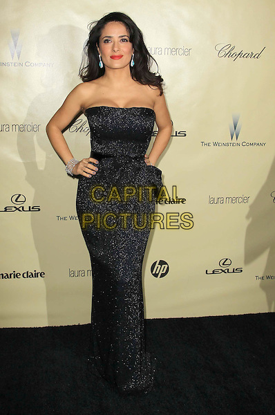 Salma Hayek.The Weinstein Company's 2013 Golden Globe After Party held at The Old trader vic's at The Beverly Hilton Hotel in Beverly Hills, California, USA..January 13th, 2013.globes full length black blue strapless dress hands on hip bow belt sparkly  .CAP/ADM/KB.©Kevan Brooks/AdMedia/Capital Pictures.