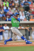 Right fielder Khalil Lee (9) of the Lexington Legends watches his second-inning home run clear the right field fence in a game against the Columbia Fireflies on Saturday, April 22, 2017, at Spirit Communications Park in Columbia, South Carolina. Lexington won, 4-0. (Tom Priddy/Four Seam Images)