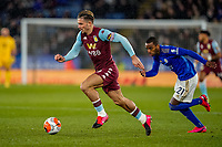 9th March 2020; King Power Stadium, Leicester, Midlands, England; English Premier League Football, Leicester City versus Aston Villa; Jack Grealish of Aston Villa runs at the defence chased by Ricardo Pereira of Leicester City