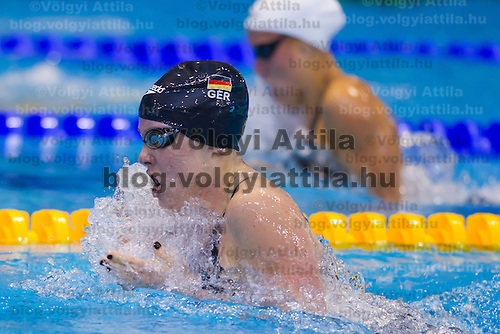 Sarah Poewe of Germany competes in the Women's 100m Breaststroke final of the 31th European Swimming Championships in Debrecen, Hungary on May 23, 2012. ATTILA VOLGYI