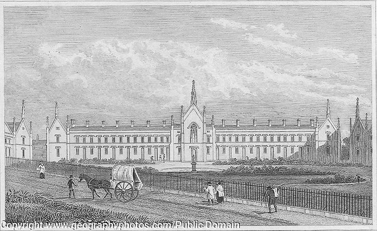 Whittington's Alms Houses, Highgate, engraving from 'Metropolitan Improvements, or London in the Nineteenth Century' London, England, UK 1828 , drawn by Thomas H Shepherd