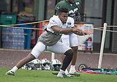 New York Jets tight end Chris Herndon (89) participates in a warm-up drill during a joint training camp practice with the Washington Redskins at the Washington Redskins Bon Secours Training Facility in Richmond, Virginia on Monday, August 13, 2018.<br /> Credit: Ron Sachs / CNP<br /> (RESTRICTION: NO New York or New Jersey Newspapers or newspapers within a 75 mile radius of New York City)