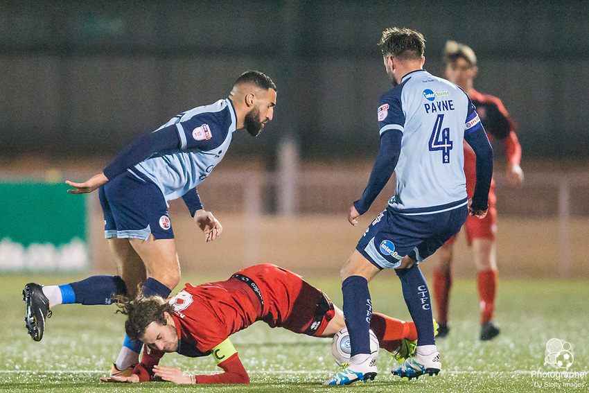 Aryan Tajbakhsh (Crawley), Sergio Torres (Capt) (Eastbourne) & Josh Payne (Crawley)  during Parafix Sussex Senior Cup Quarter Final between Eastbourne Borough FC & Crawley Town FC on Tuesday 09 January 2018 at Priory Lane. Photo by Jane Stokes (DJ Stotty Images)