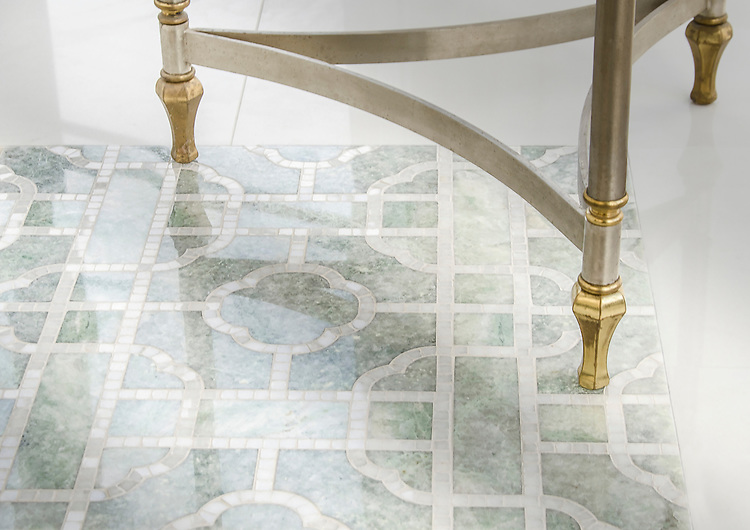 Royal Palace, a waterjet and hand-cut stone mosaic, shown in polished Ming Green and Afyon White, is part of the Altimetry® collection designed by Paul Schatz for New Ravenna.