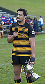 Bombay Captain Pat Masoe addreses the teams and crowd after the Counties Manukau Premier 1 McNamara Cup Final between Ardmore Marist and Bombay, played at Navigation Homes Stadium on Saturday July 20th 2019.<br />  Bombay won the McNamara Cup for the 5th time in 6 years, 33 - 18 after leading 14 - 10 at halftime.<br /> Photo by Richard Spranger.