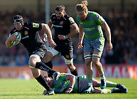 Exeter Chiefs' Thomas Waldrom in action during todays match<br /> <br /> Photographer Bob Bradford/CameraSport<br /> <br /> Aviva Premiership Play-Off Semi Final - Exeter Chiefs v Newcastle Falcons - Saturday 19th May 2018 - Sandy Park - Exeter<br /> <br /> World Copyright &copy; 2018 CameraSport. All rights reserved. 43 Linden Ave. Countesthorpe. Leicester. England. LE8 5PG - Tel: +44 (0) 116 277 4147 - admin@camerasport.com - www.camerasport.com