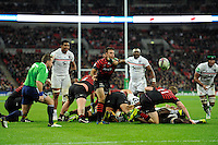 20131018 Copyright onEdition 2013©<br /> Free for editorial use image, please credit: onEdition<br /> <br /> Neil de Kock of Saracens passes during the Heineken Cup match between Saracens and Stade Toulousain at Wembley Stadium on Friday 18th October 2013 (Photo by Rob Munro)<br /> <br /> For press contacts contact: Sam Feasey at brandRapport on M: +44 (0)7717 757114 E: SFeasey@brand-rapport.com<br /> <br /> If you require a higher resolution image or you have any other onEdition photographic enquiries, please contact onEdition on 0845 900 2 900 or email info@onEdition.com<br /> This image is copyright onEdition 2013©.<br /> This image has been supplied by onEdition and must be credited onEdition. The author is asserting his full Moral rights in relation to the publication of this image. Rights for onward transmission of any image or file is not granted or implied. Changing or deleting Copyright information is illegal as specified in the Copyright, Design and Patents Act 1988. If you are in any way unsure of your right to publish this image please contact onEdition on 0845 900 2 900 or email info@onEdition.com