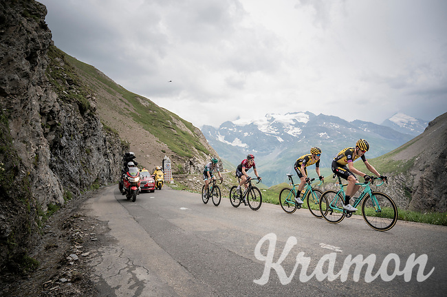 A group containing Steven Kruijswijk (NED/Jumbo-Visma) & Geraint Thomas (GBR/Ineos) is droppped by the race leaders with 3 km to go up the Col de l'Iseran (HC/2751m/13km@7.3%) <br /> > where the race was eventually stopped (at the top) because of landslides further up the road (after a severe hail storm in Tignes)<br /> <br /> Stage 19: Saint-Jean-de-Maurienne to Tignes(126km)<br /> 106th Tour de France 2019 (2.UWT)<br /> <br /> ©kramon