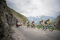 A group containing Steven Kruijswijk (NED/Jumbo-Visma) & Geraint Thomas (GBR/Ineos) is droppped by the race leaders with 3 km to go up the Col de l'Iseran (HC/2751m/13km@7.3%) <br /> > where the race was eventually stopped (at the top) because of landslides further up the road (after a severe hail storm in Tignes)<br /> <br /> Stage 19: Saint-Jean-de-Maurienne to Tignes (126km)<br /> 106th Tour de France 2019 (2.UWT)<br /> <br /> ©kramon