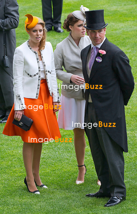 ROYAL ASCOT 2014 LADIES DAY - PRINCESSES BEATRICE AND EUGENIE WITH PETER PHILLIPS<br /> The Queen, Duke of Edinburgh, Princes Andrew and Harry Prince Harry, Princesses Anne, Eugenie and Beatrice in attendance on the LadiesDay of the 4-day Royal Ascot Race Meeting.<br /> United Kingdom, Ascot, June 19, 2014.