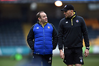 Bath Rugby first team coaches Darren Edwards and Girvan Dempsey. Gallagher Premiership match, between Worcester Warriors and Bath Rugby on January 5, 2019 at Sixways Stadium in Worcester, England. Photo by: Patrick Khachfe / Onside Images