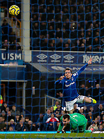 Everton's Bernard shoots over the bar under pressure from Newcastle United's Martin Dubravka<br /> <br /> Photographer Alex Dodd/CameraSport<br /> <br /> The Premier League - Everton v Newcastle United  - Tuesday 21st January 2020 - Goodison Park - Liverpool<br /> <br /> World Copyright © 2020 CameraSport. All rights reserved. 43 Linden Ave. Countesthorpe. Leicester. England. LE8 5PG - Tel: +44 (0) 116 277 4147 - admin@camerasport.com - www.camerasport.com