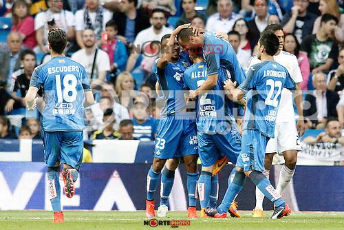 Getafe's players celebrate goal during La Liga match. May 23,2015. (ALTERPHOTOS/Acero) /NortePhoto.com