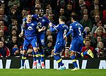 Phil Jagielka of Everton (l) celebrates scoring the first goal during the English Premier League match at Old Trafford Stadium, Manchester. Picture date: April 4th 2017. Pic credit should read: Simon Bellis/Sportimage