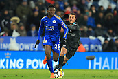 18th March 2018, King Power Stadium, Leicester, England; FA Cup football, quarter final, Leicester City versus Chelsea; Pedro of Chelsea is beaten to the ball by Wilfred Ndidi of Leicester City
