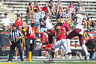 College Park, MD - September 22, 2018:  Minnesota Golden Gophers wide receiver Rashod Bateman (13) catches a touchdown during the game between Minnesota and Maryland at  Capital One Field at Maryland Stadium in College Park, MD.  (Photo by Elliott Brown/Media Images International)