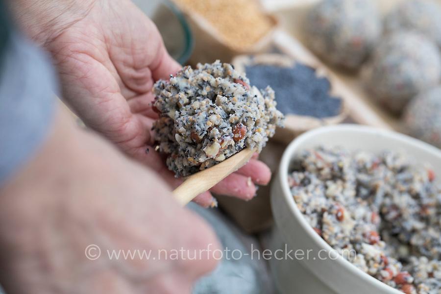 Meisenknödel selbermachen, Meisenknödel selber machen, Schritt 2: Fettfutter wird zu einer Kugel geformt. Selbstgemachte Fettfuttermischung, Fettfutter wird zu Kugeln, Knödeln, Meisenknödel geformt und anschließend durch Körner gerollt, Fettfutter aus Kokosfett, Sonnenblumenkernen, Erdnussbruch, Körnermix, Körnermischung, Sonnenblumenöl, Vogelfutter selbst herstellen, Vogelfutter selber machen, Vogelfutter selbermachen, Vogelfütterung, Fütterung, bird's feeding
