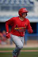 Palm Beach Cardinals Alexis Wilson (26) runs to first base during a Florida State League game against the Charlotte Stone Crabs on April 14, 2019 at Charlotte Sports Park in Port Charlotte, Florida.  Palm Beach defeated Charlotte 5-3.  (Mike Janes/Four Seam Images)