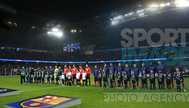 Both teams line up during the Champions League Group C match at the Etihad Stadium, Manchester. Picture date: November 1st, 2016. Pic Simon Bellis/Sportimage