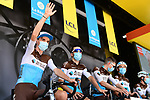 Romain Bardet (FRA) and AG2R La Mondiale team at sign on before the start of Stage 2 of Criterium du Dauphine 2020, running 135km from Vienne to Col de Porte, France. 13th August 2020.<br /> Picture: ASO/Alex Broadway | Cyclefile<br /> All photos usage must carry mandatory copyright credit (© Cyclefile | ASO/Alex Broadway)