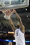Freshman forward DeMarcus Cousins makes a dunk during the first half of the UK men's basketball against Wake Forest for the second round of the NCAA tournament at New Orleans Arena on Saturday, March 20, 2010. The Cats were up on the Deacs 44-28 at the half. Photo by Adam Wolffbrandt | Staff