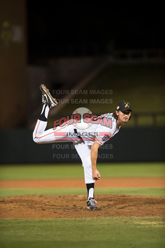 Salt River Rafters relief pitcher Tommy Eveld (33), of the Miami Marlins organization, follows through on his delivery during an Arizona Fall League game against the Scottsdale Scorpions at Salt River Fields at Talking Stick on October 11, 2018 in Scottsdale, Arizona. Salt River defeated Scottsdale 7-6. (Zachary Lucy/Four Seam Images)