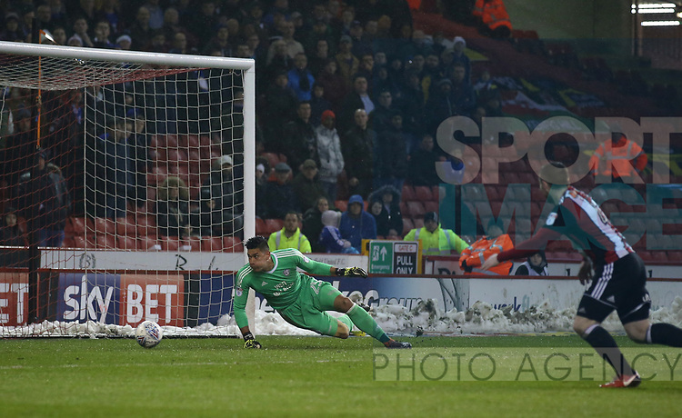 Neil Etheridge can only watch as a strike from Leon Clarke of Sheffield Utd goes past him not the net for the first goal during the Championship match at Bramall Lane Stadium, Sheffield. Picture date 02nd April, 2018. Picture credit should read: Simon Bellis/Sportimage