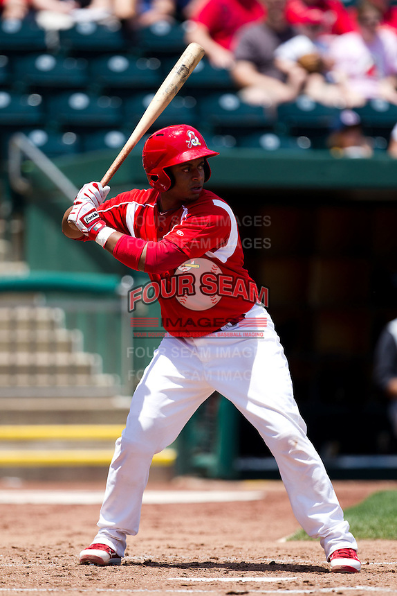 Audry Perez (10) of the Springfield Cardinals at bat during a game against the San Antonio Missions on May 30, 2011 at Hammons Field in Springfield, Missouri.  Photo By David Welker/Four Seam Images