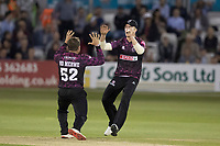Tom Abell of Somerset CCC and Roelof Van Der Merwe of Somerset CCC celebrate the wicket of ten Doeschate during Essex Eagles vs Somerset, Vitality Blast T20 Cricket at The Cloudfm County Ground on 7th August 2019