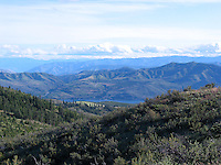 A view south from Echo Ridge towards Lake Chelan and its surrounding mountains.