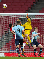Blackpool U18's goalkeeper Craig Thordarson saves from Arsenal U18's Tyreece John-Jules<br /> <br /> Photographer Andrew Kearns/CameraSport<br /> <br /> Emirates FA Youth Cup Semi- Final Second Leg - Arsenal U18 v Blackpool U18 - Monday 16th April 2018 - Emirates Stadium - London<br />  <br /> World Copyright &copy; 2018 CameraSport. All rights reserved. 43 Linden Ave. Countesthorpe. Leicester. England. LE8 5PG - Tel: +44 (0) 116 277 4147 - admin@camerasport.com - www.camerasport.com