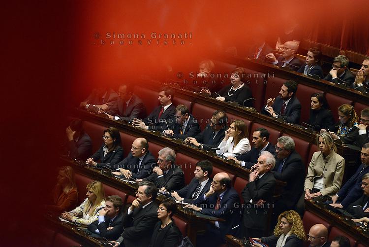 Roma, 22 Aprile 2013.Camera dei Deputi.Giorgio Napolitano giura davanti le Camere riunite a Presidente della Repubblica.Gli scranni del Pd, PierLuigi Bersani