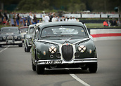 10th September 2017, Goodwood Estate, Chichester, England; Goodwood Revival Race Meeting; A Jaguar mk1 driven by Anthony Reid exits the Goodwood chicane