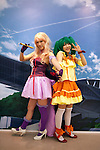 Macross, May 1st 2012, Tokyo, Japan -  Japanese girls dress as Macross Frontier characters (Sheryl Nome and Ranka Lee) L to R. Macross was a popular science fiction animation series that started in 1982. The 30th Anniversary of Macross exposition was held at Sunshine City in the Ikebukuro Ward of Tokyo.