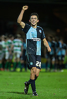Goal scorer Luke O'Nien of Wycombe Wanderers on the final whistle during the Sky Bet League 2 match between Yeovil Town and Wycombe Wanderers at Huish Park, Yeovil, England on 24 November 2015. Photo by Andy Rowland.
