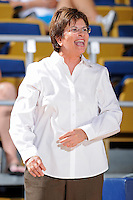 28 November 2010:  FIU Women's Basketball Head Coach Cindy Russo shouts instructions to her players in the second half as the FIU Golden Panthers defeated the Indiana State Sycamores, 68-47, to win the 16th annual FIU Thanksgiving Classic at the U.S. Century Bank Arena in Miami, Florida.