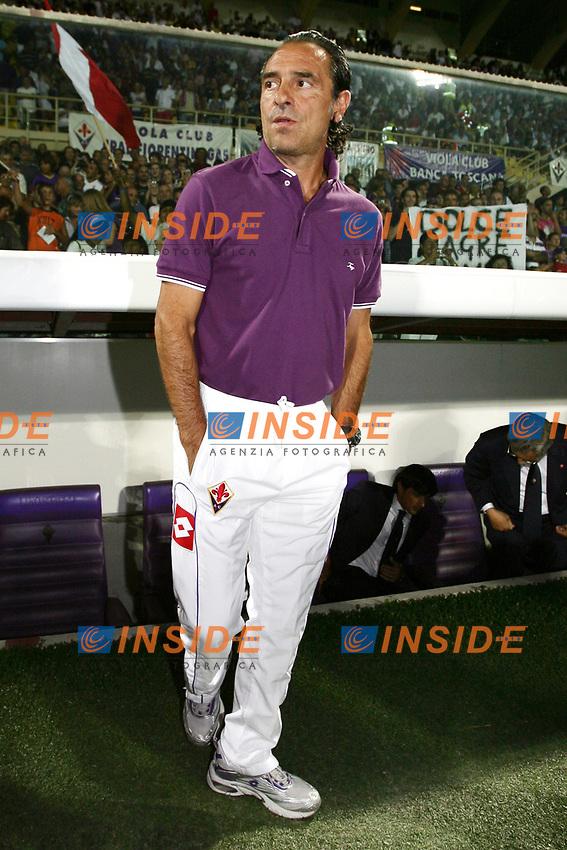 Cesare Prandelli Fiorentina<br /> Firenze 12/08/2008 - Stadio &quot;Artemio Franchi&quot;<br /> Calcio Preliminari Champions League <br /> Fiorentina -Slavia Praga <br /> Foto Insidefoto