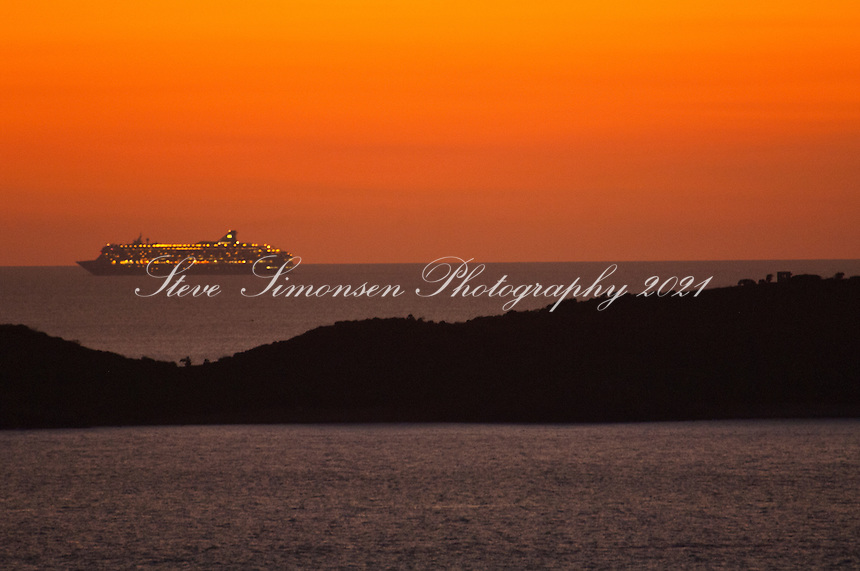 Cruise ship departing the Virgin Islands