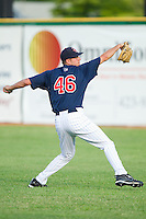 Pat Dean #46 of the Elizabethton Twins at Joe O'Brien Field August 14, 2010, in Elizabethton, Tennessee.  Photo by Brian Westerholt / Four Seam Images