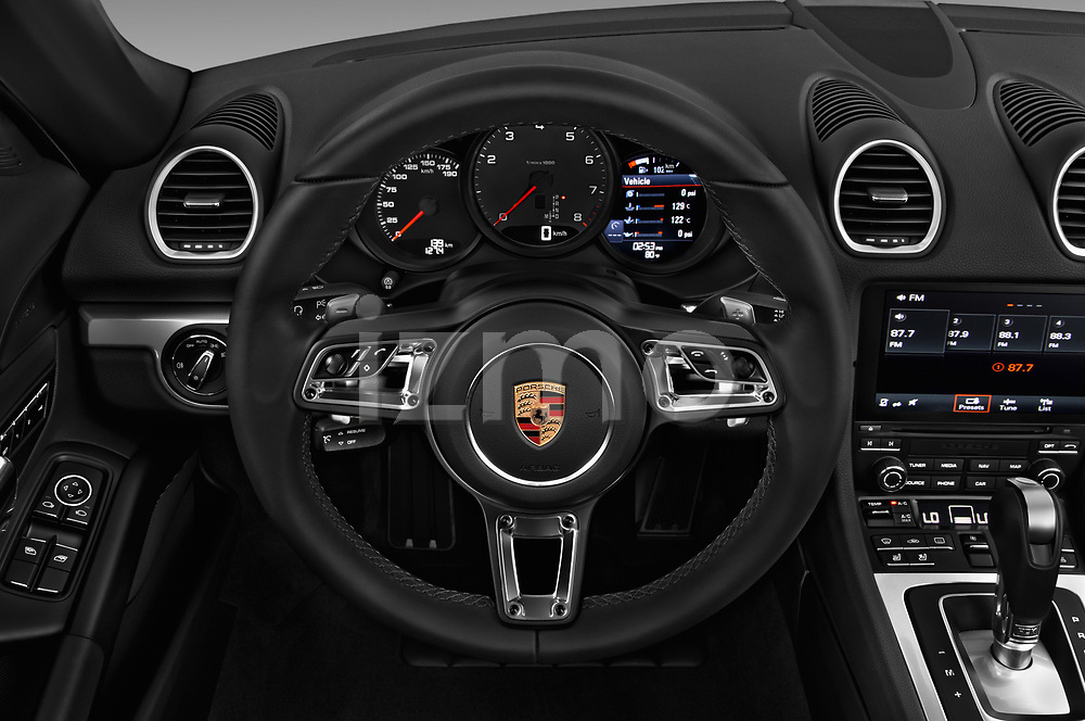 Car pictures of steering wheel view of a 2018 Porsche 718 Cayman S 2 Door Coupe