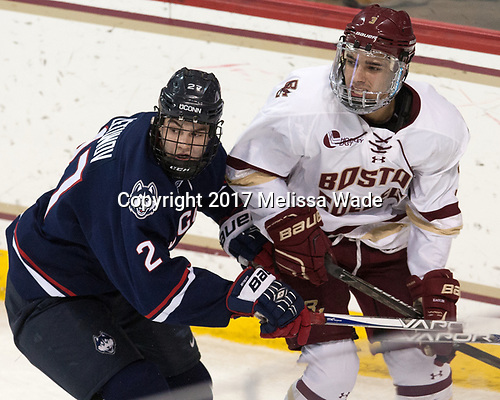 Maxim Letunov (UConn - 27), Luke McInnis (BC - 3) - The Boston College Eagles defeated the visiting UConn Huskies 2-1 on Tuesday, January 24, 2017, at Kelley Rink in Conte Forum in Chestnut Hill, Massachusetts.