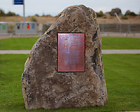 Pictured: The commemorative plaque on a rock which was unveiled by Hillary Clinton at Swansea University Bay Campus. Saturday 14 October 2017<br />