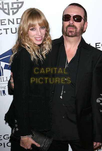 ANOUSHAKA FISZ & DAVE STEWART.Fullfillment Fund STARS 2008 Benefit Gala held at The Beverly Hilton Hotel, Beverly Hills, California, USA..October 13th 2008.half length black dress jacket suit sunglasses shades couple clutch bag facial hair beard .CAP/ADM/TL.©Tony Lowe/AdMedia/Capital Pictures.