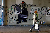 Title unknown, Artist  Unknown Poster Art<br /> Rome February 7th 2019. Street Art in Rome, Ostiense<br /> district. Very important writers painted Murales in various districts of Rome to tell stories about the city, to commemorate important moments, to embellish the quarter or simply to portray it.  <br /> Photo Samantha Zucchi Insidefoto
