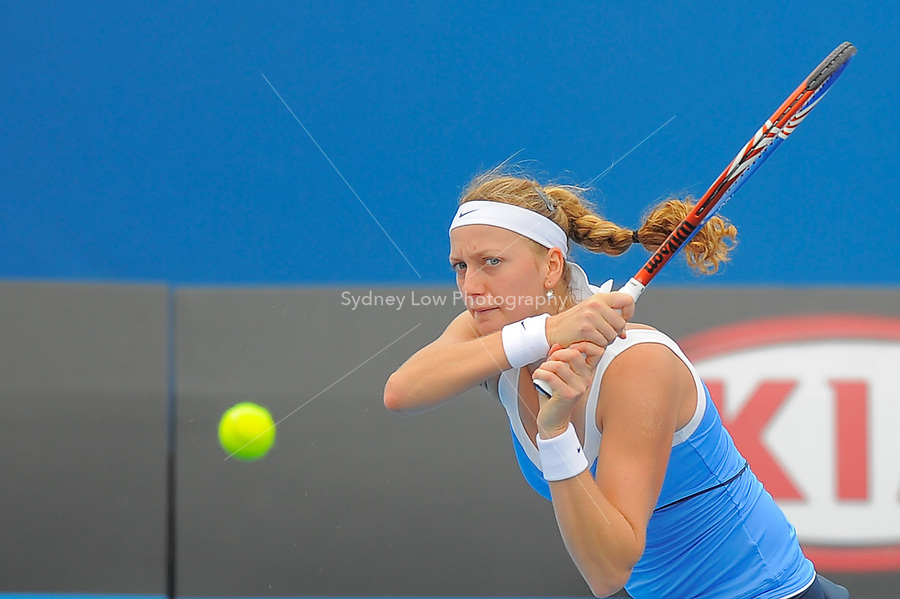MELBOURNE, 18 JANUARY - Petra Kvitova (CZE) in action during her first round match against Sally Peers (AUS) on day two of the 2011 Australian Open at Melbourne Park, Australia. (Photo Sydney Low / syd-low.com)