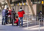 Stockholm 2015-03-14 Bandy Bronsmatch Hammarby IF - Villa Lidk&ouml;ping BK :  <br /> Publik visiteras av entr&eacute;v&auml;rdar inf&ouml;r matchen mellan Hammarby IF och Villa Lidk&ouml;ping BK <br /> (Foto: Kenta J&ouml;nsson) Nyckelord:  Tele2 Arena SM Brons Bronsmatch Tredjepris herr herrar Hammarby HIF Bajen Villa Lidk&ouml;ping VLBK supporter fans publik supporters s&auml;kerhet visitation visitering utomhus exteri&ouml;r exterior