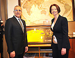 Michel Sleiman, President of Lebanon, and Australian Prime Minister Julia Gillard pose for the media in her office in Parliament House, Canberra, on Monday April 16th 2012. AFP PHOTO / Mark GRAHAM POOL