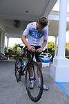 Team Sky get ready for a morning training ride before Stage 1 of the La Vuelta 2018, an individual time trial of 8km running around Malaga city centre. Mijas, Spain. 23rd August 2018.<br /> Picture: Eoin Clarke | Cyclefile<br /> <br /> <br /> All photos usage must carry mandatory copyright credit (&copy; Cyclefile | Eoin Clarke)