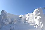 66th Sapporo Snow Festivai February 5th, 2015. <br /> A sculpture of Japanese cartoon characters the Sazae-san family made from snow. (Photo by Hitoshi Mochizuki/AFLO)