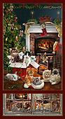 GIORDANO, CHRISTMAS ANIMALS, WEIHNACHTEN TIERE, NAVIDAD ANIMALES, paintings+++++Fireside Kittens Panel,USGIPROV09,#xa# ,cats,